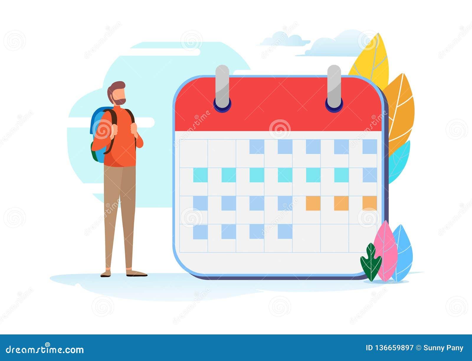 Ferieplantur Loppschema Kalender semester, turism, fotvandrare Miniatyrillustrationvektor för plan tecknad film