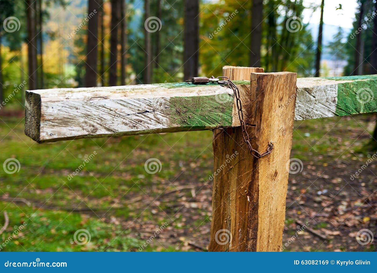 Download Fermé Avec La Porte De Barre De Barrière De Serrure Dans La Forêt Image stock - Image du pré, forêt: 63082169