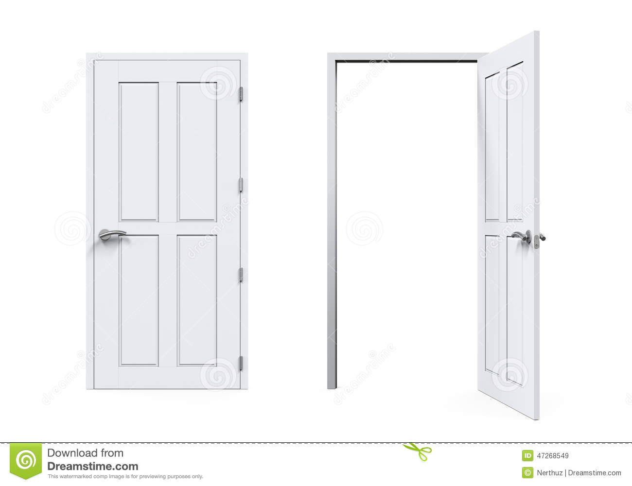 Ferm et portes ouvertes d 39 isolement illustration stock for Porte qui ferme mal