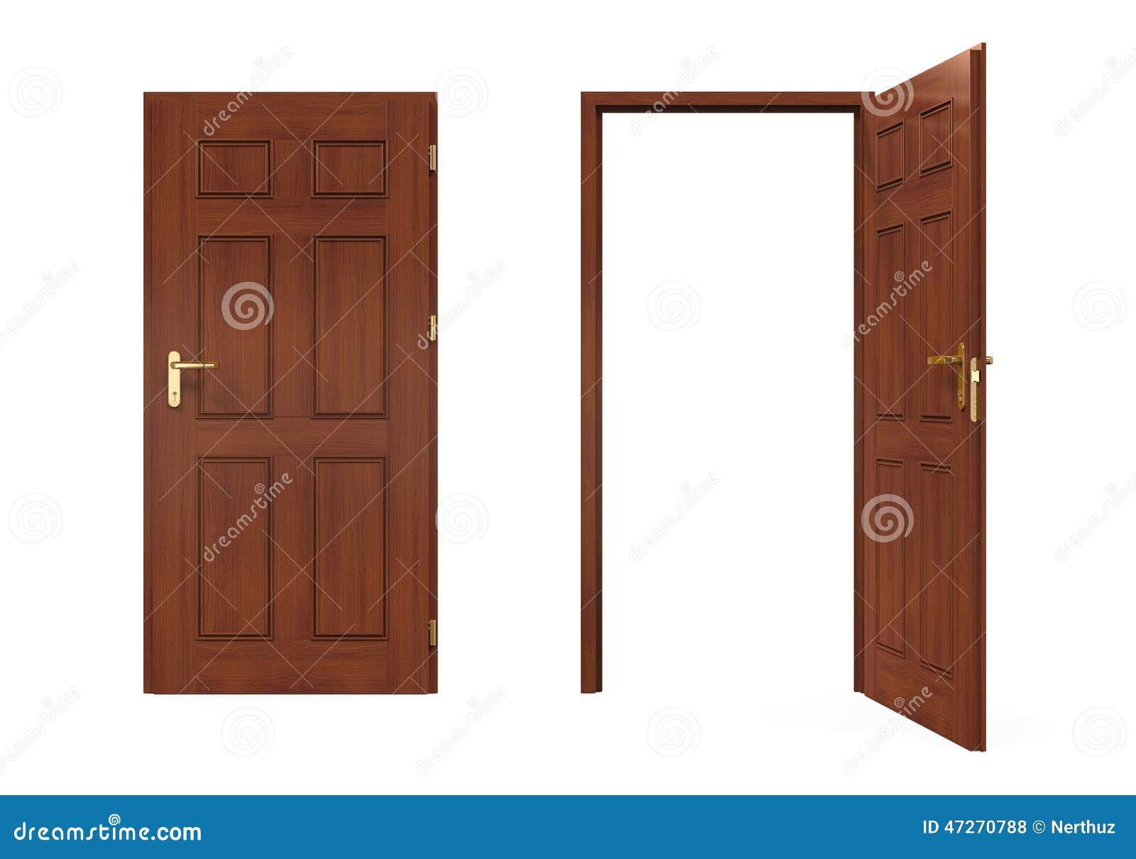Ferm et portes ouvertes d 39 isolement illustration stock for Porte ouverte