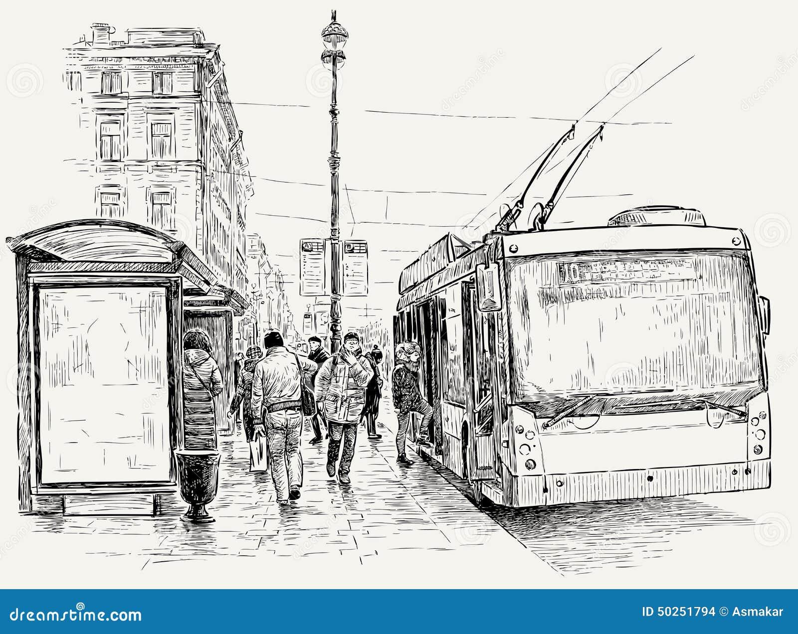 fermata del filobus nella grande citt illustrazione