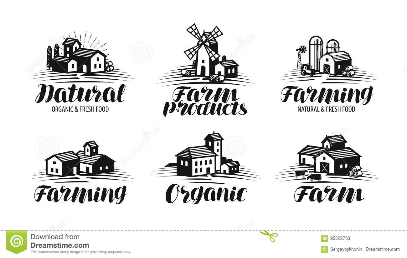 Ferme, cultivant l ensemble de label Agriculture, agro-industrie, icône de construction ou logo Illustration de vecteur de lettra