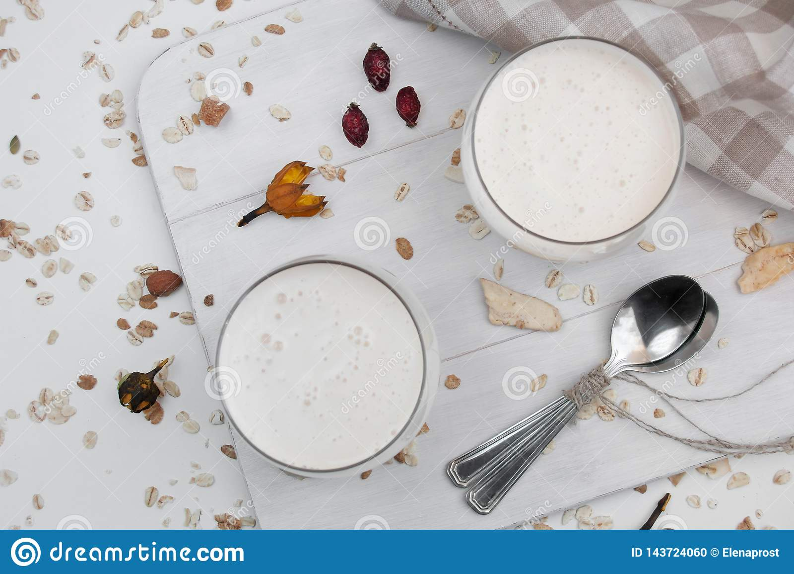 Fermentujący Piec Dojny napój, Ryazhenka, kuchnia, rosjanina i kniaź, kefir, bakteryjny fermentacja starter w szkle na bielu
