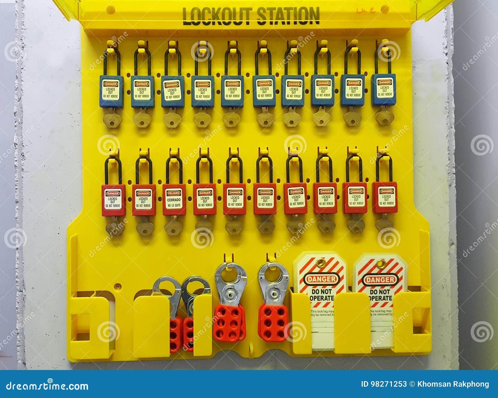 Fermez à clef et étiquetez, station de lock-out, dispositifs propres à une machine de lock-out