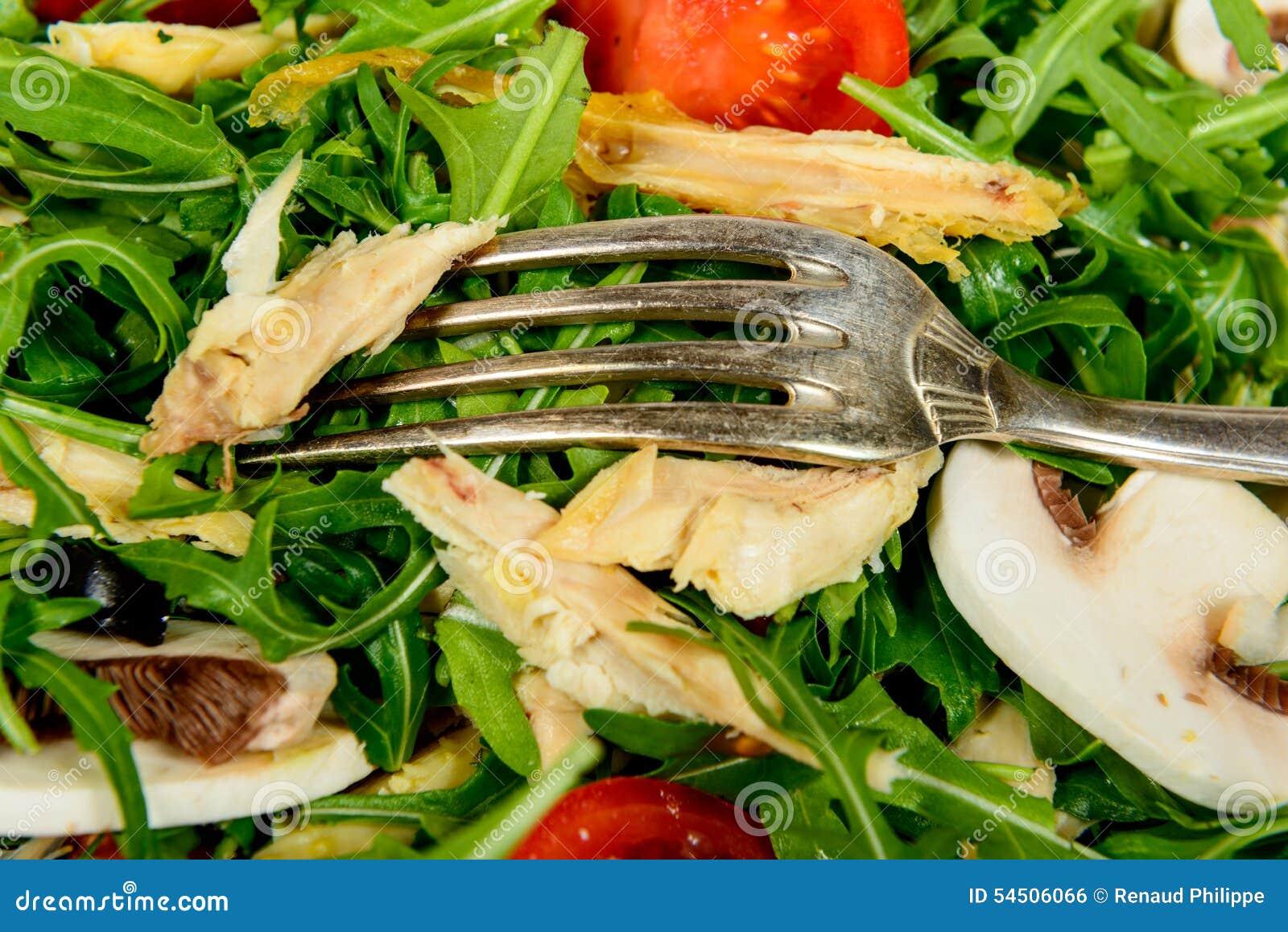 Fermez-vous d un plat de salade et de poulet