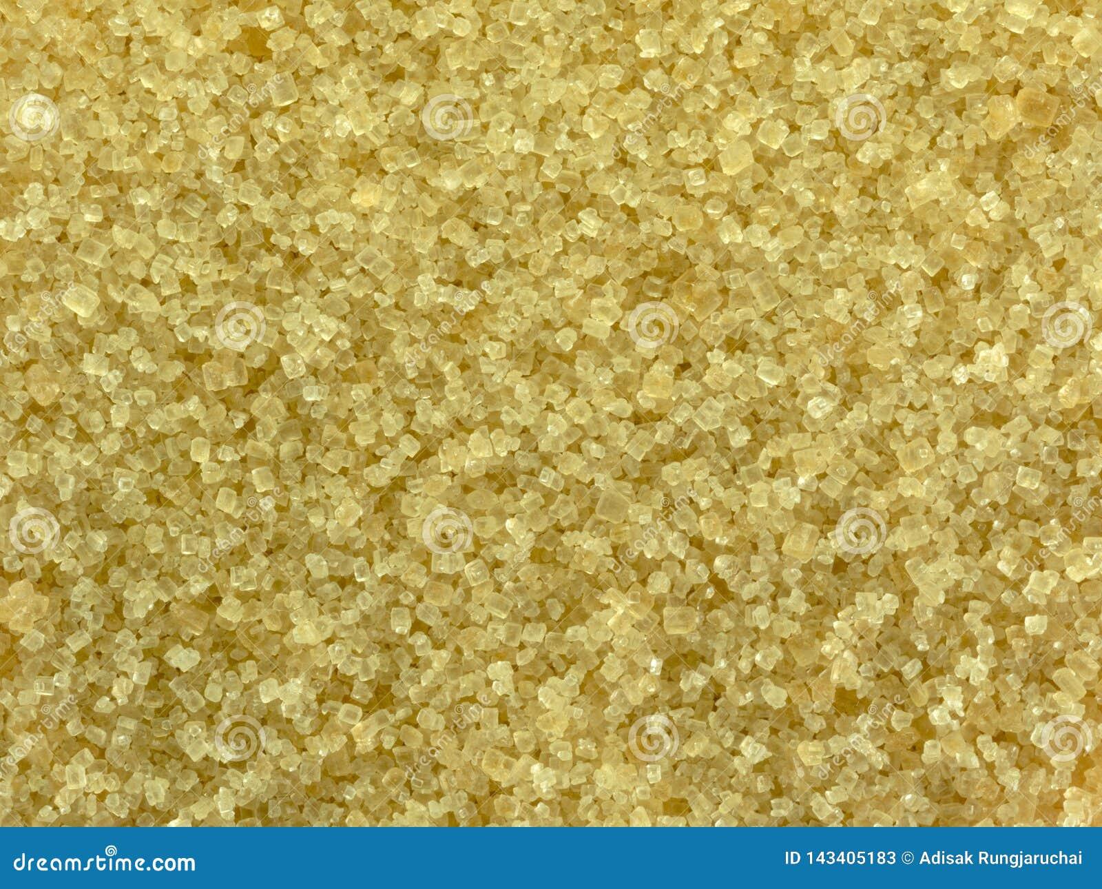 Fermez-vous de la texture de sucre roux Cristaux naturels de sucre pour la santé
