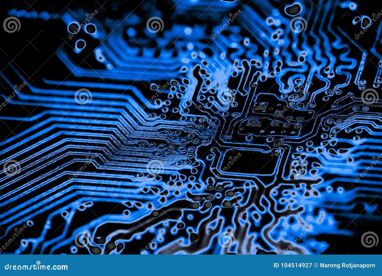 Fermez-vous des circuits électroniques sur le panneau de logique de fond d ordinateur de technologie de Mainboard, carte mère d u