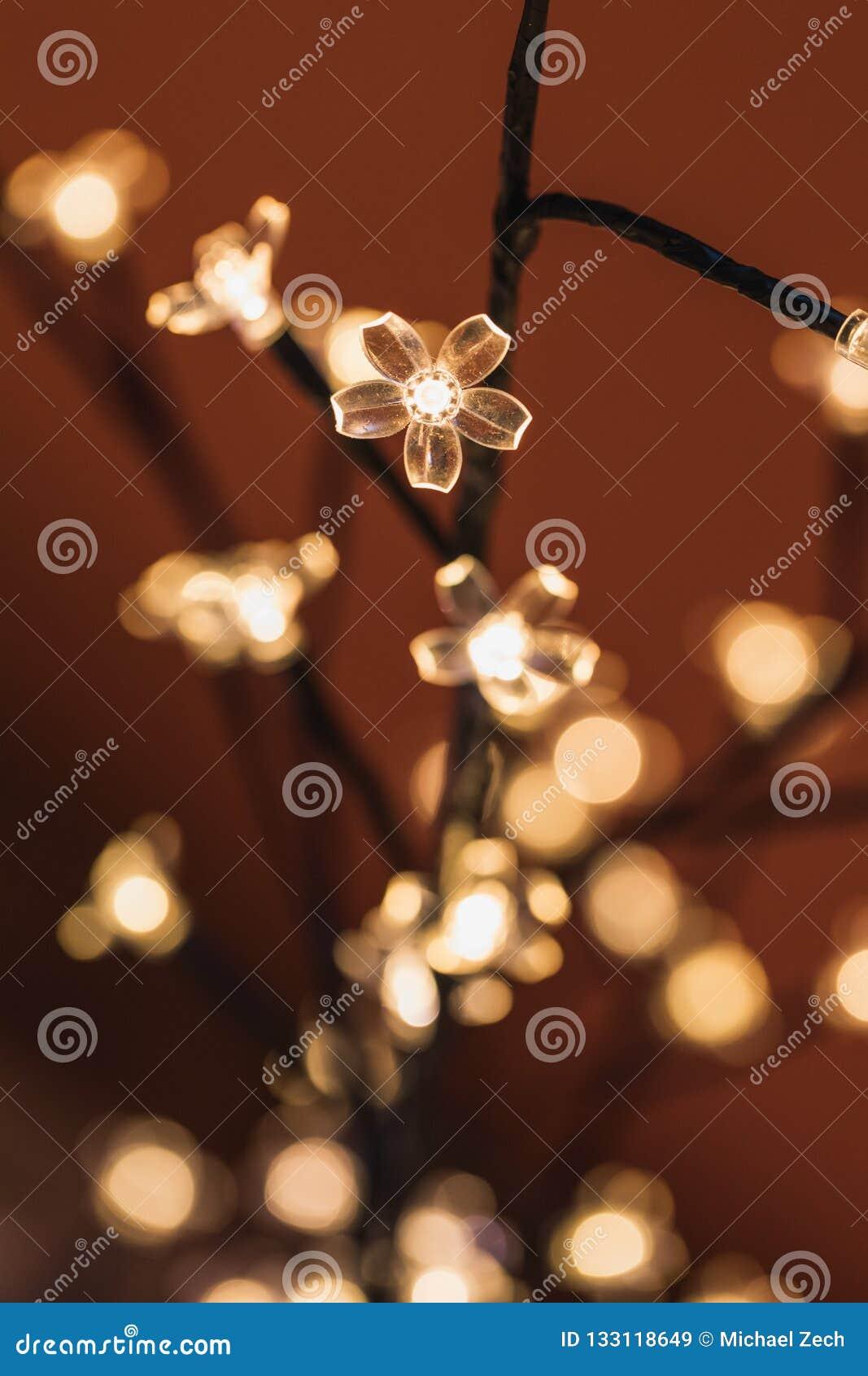 Fermez-vous des lumières troubles sur un arbre de Noël