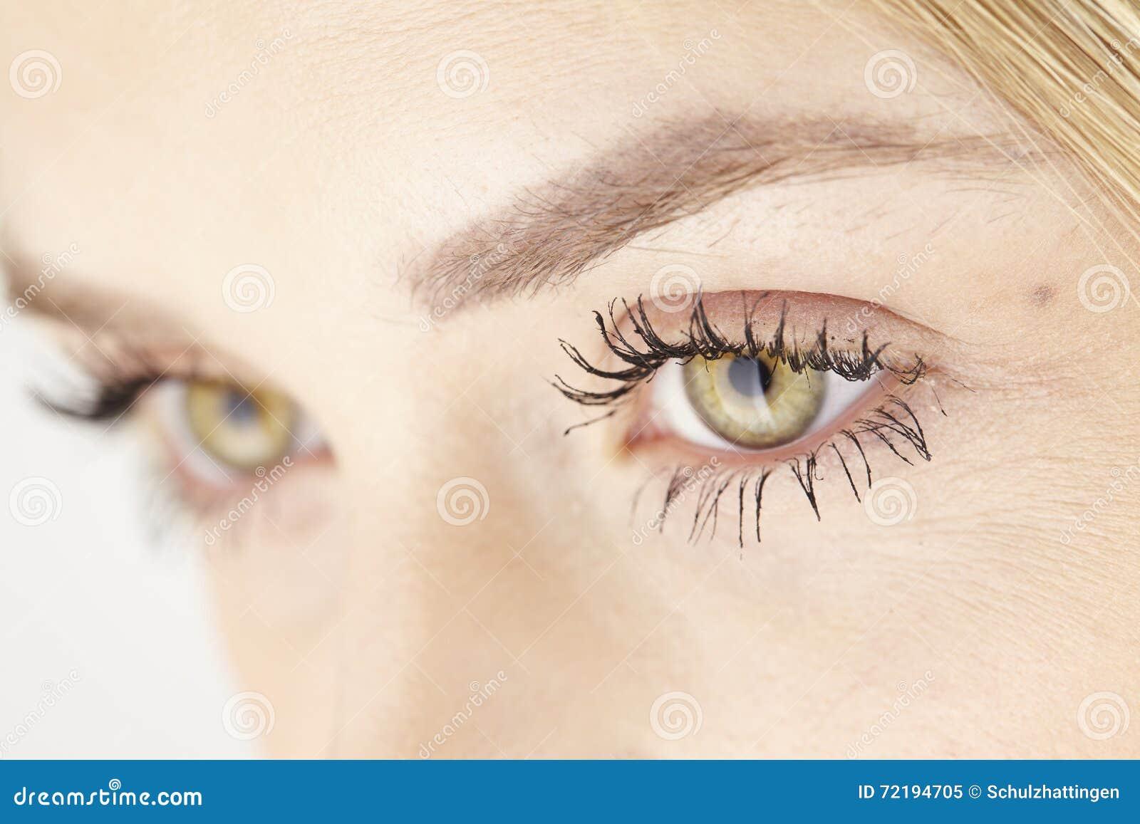 fermez vous des yeux verts jaunes de la femme attirante image stock image du yeux visage. Black Bedroom Furniture Sets. Home Design Ideas