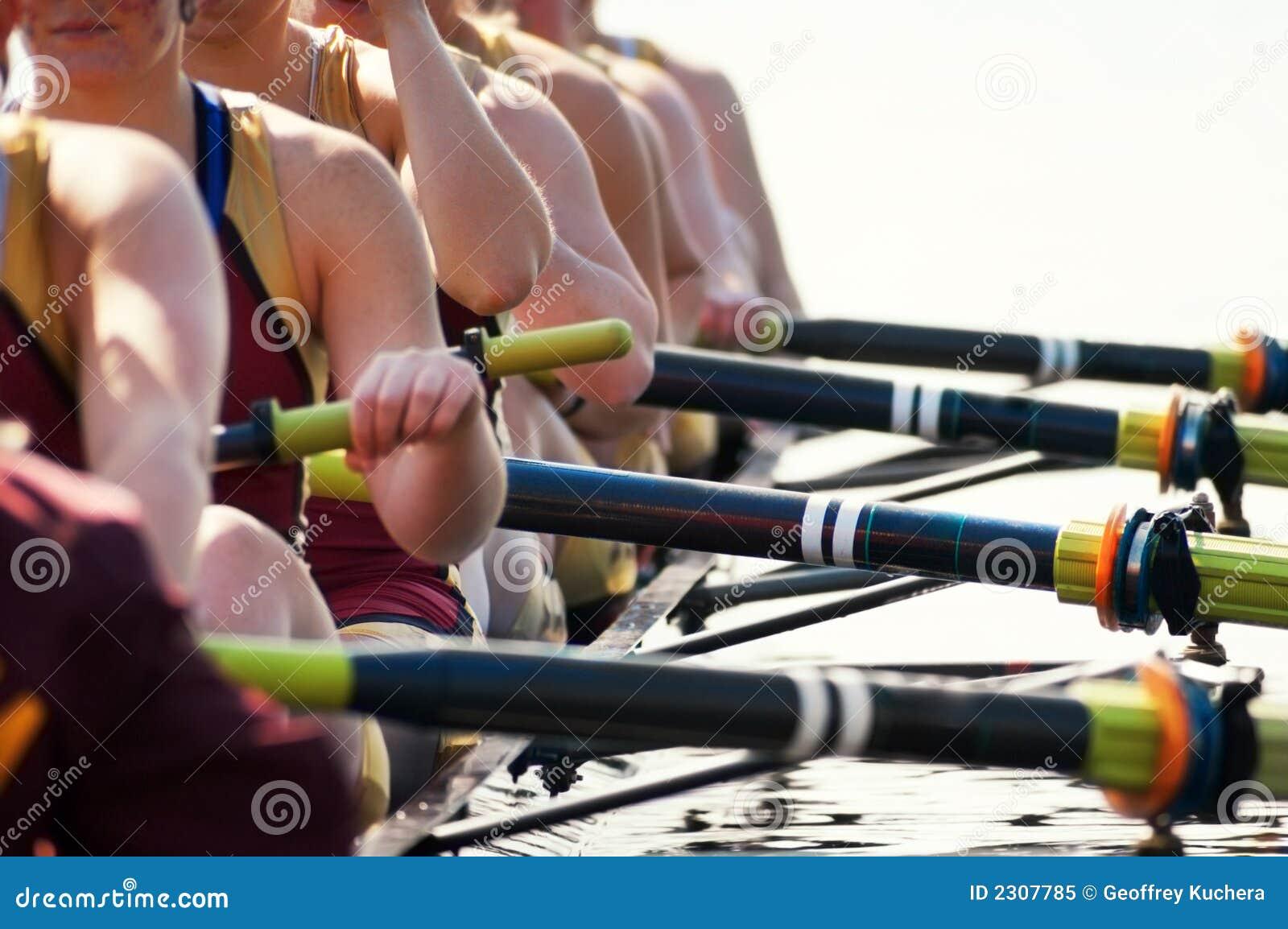 Fermez-vous vers le haut de l équipe de l aviron des femmes