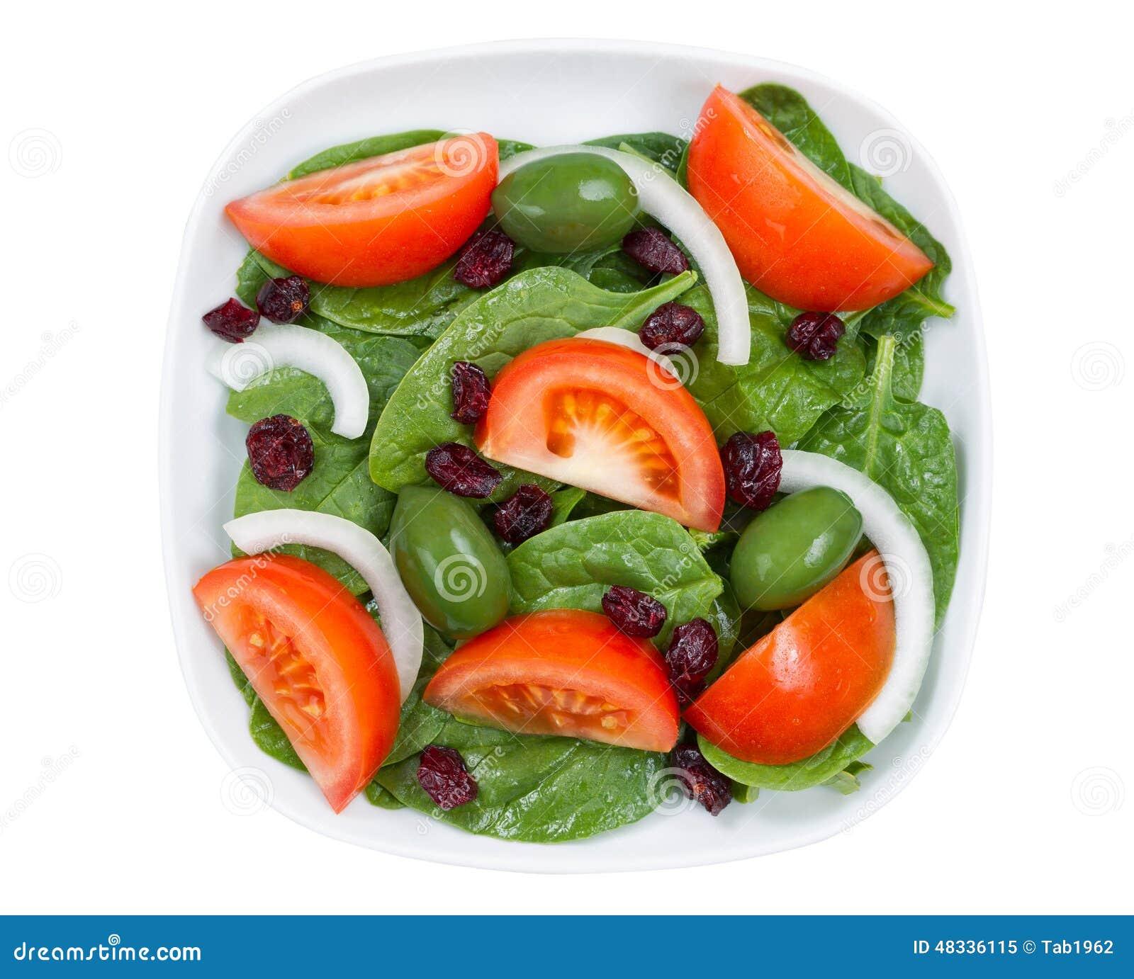 fermez vous vers le haut de la vue sup rieure de la salade fra che dans le plat d 39 isolement sur. Black Bedroom Furniture Sets. Home Design Ideas
