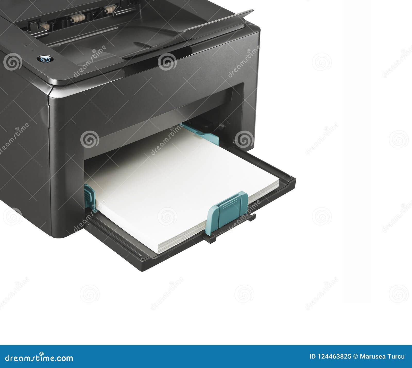 Fermez-vous vers le haut des feuilles de papier sur l imprimante