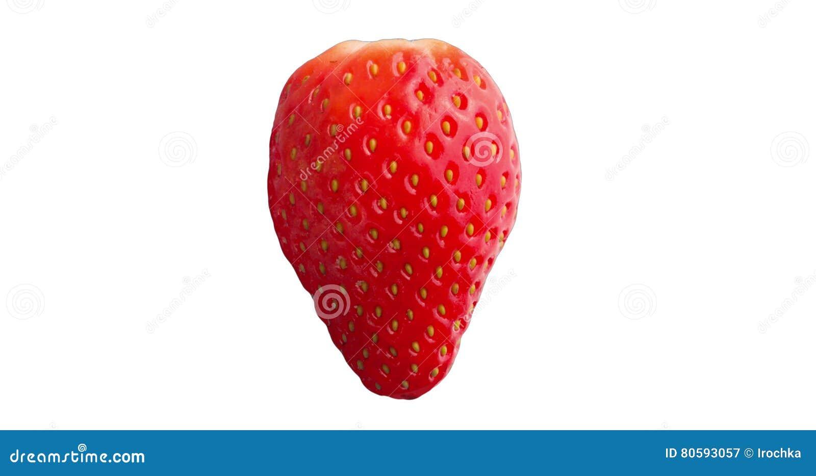 Fermez-vous vers le haut du fruit rouge frais de fraise d isolement