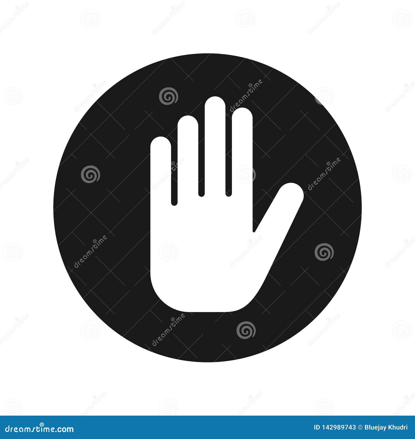 Fermi l illustrazione rotonda nera piana di vettore del bottone dell icona della mano