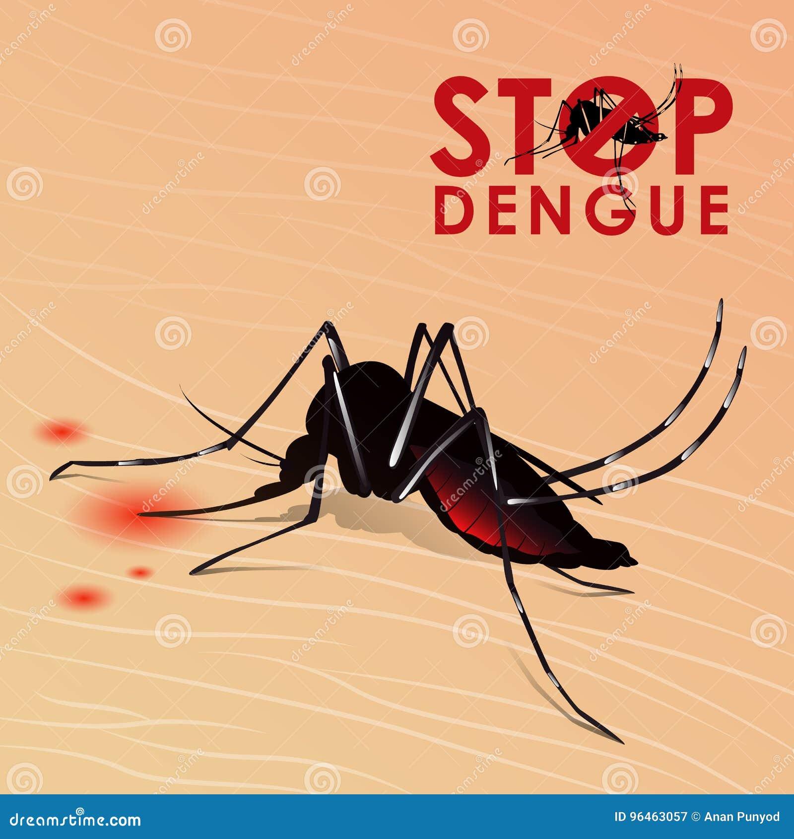 Fermi Le Dengue Con La Zanzara Che Succhia Il Sangue Su