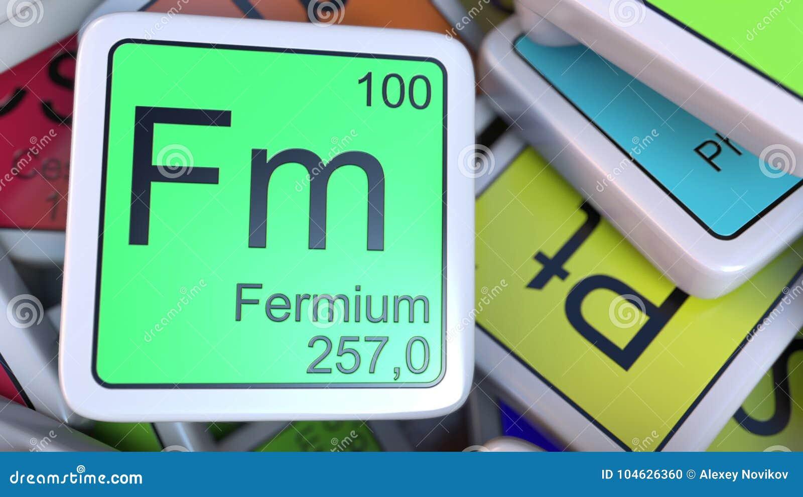 Download Fermium Het Blok Van Fm Op De Stapel Van Periodieke Lijst Van De Chemische Elementenblokken Het 3d Teruggeven Stock Illustratie - Illustratie bestaande uit atoom, blok: 104626360