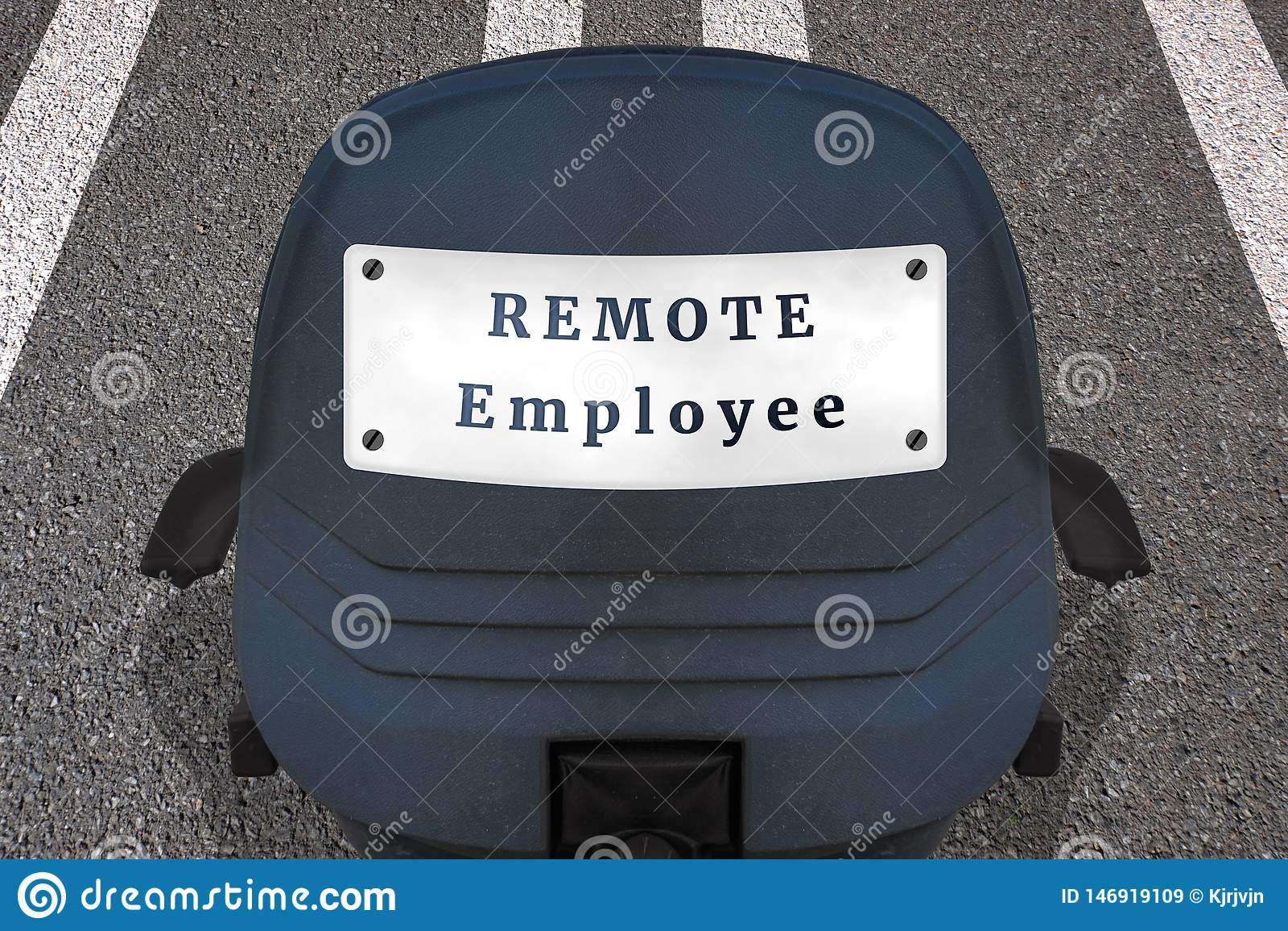 Fernjobkonzeptplakat Text FERNangestellter B?rostuhl auf markierter Rollbahn oder Landstra?e in Anfangsposition Auto Identifikati
