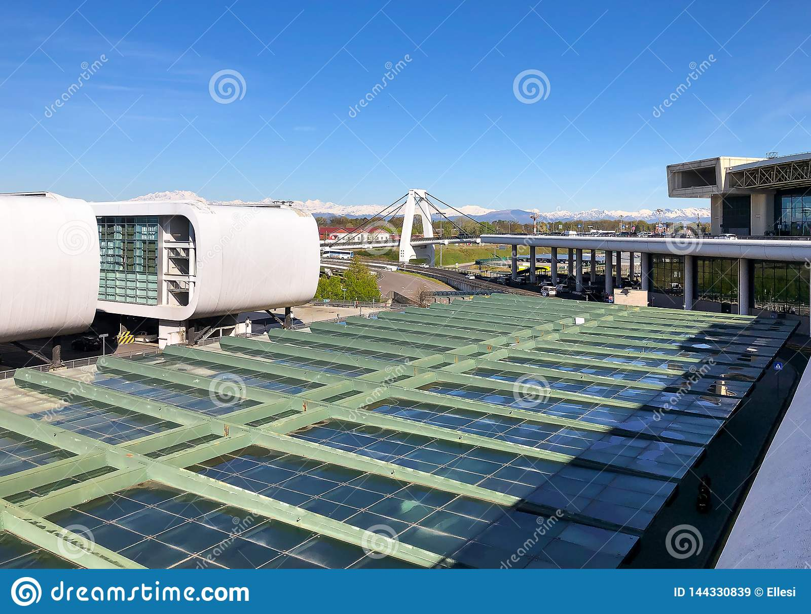 View Of The Cable Stayed Bridge Of Milan Malpensa ...