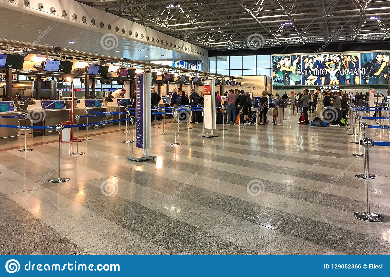 Passengers Lined Up For Chek In Inside The Milan Malpensa Airport Terminal 1 Editorial Photo Image Of Inside Tourists 129052366