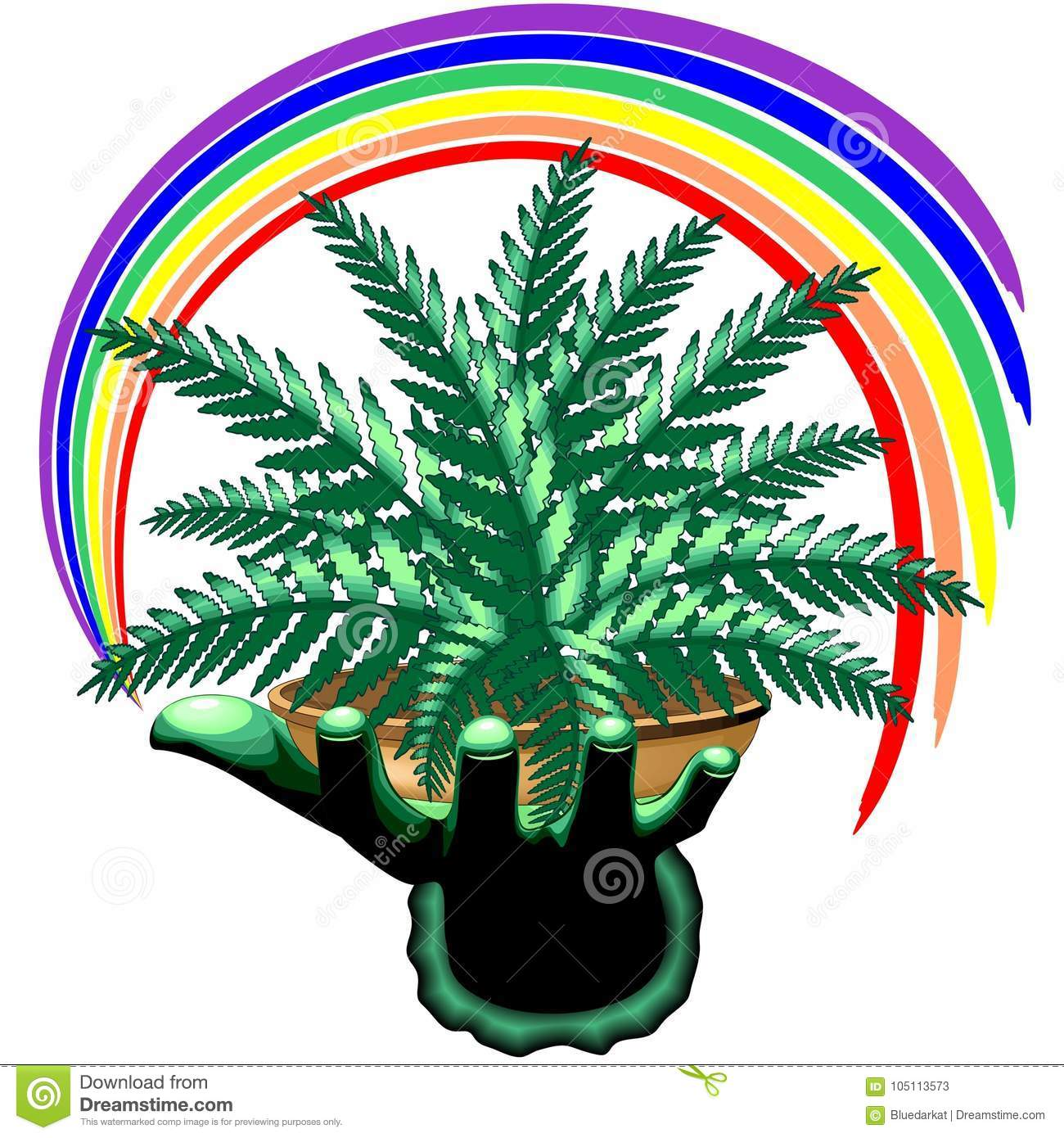 Ferns Plant And Rainbow On Green Hand Stock Vector ... on rainbow eucalyptus plant, rainbow hibiscus plant, rainbow rose plant, rainbow iris plant, rainbow cactus plant, rainbow bleeding heart plant, rainbow bamboo plant, rainbow fern care, rainbow orchid plant, rainbow jasmine plant, rainbow leaf plant, rainbow coleus plant, rainbow flower plant, red spiky plant, indian tobacco plant, rainbow moss, rainbow chrysanthemum plant, rainbow strawberry plant, rainbow hyacinth plant, rainbow evergreen plant,