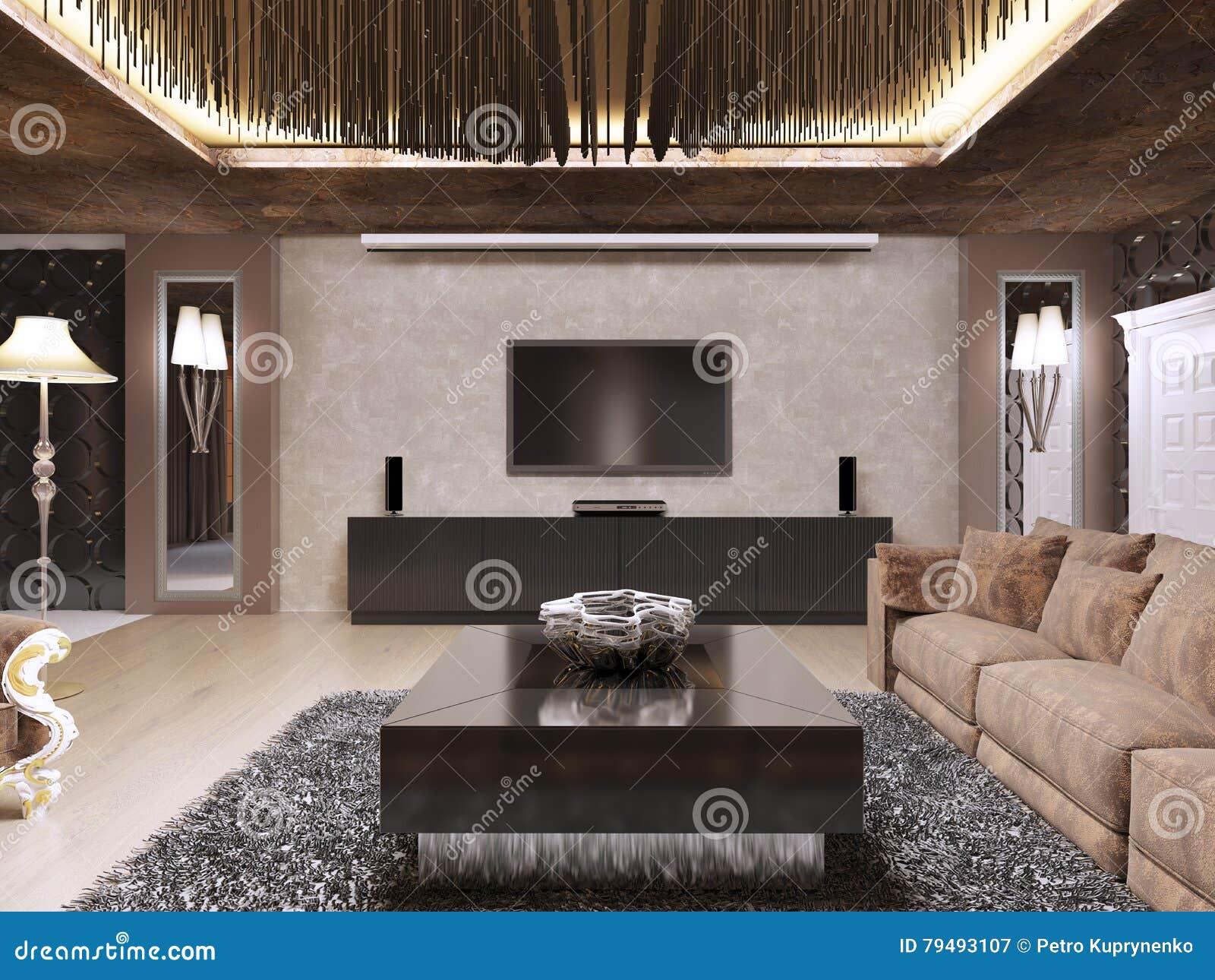 Fernseheinheit im Luxuswohnzimmer entwarf in der modernen Art