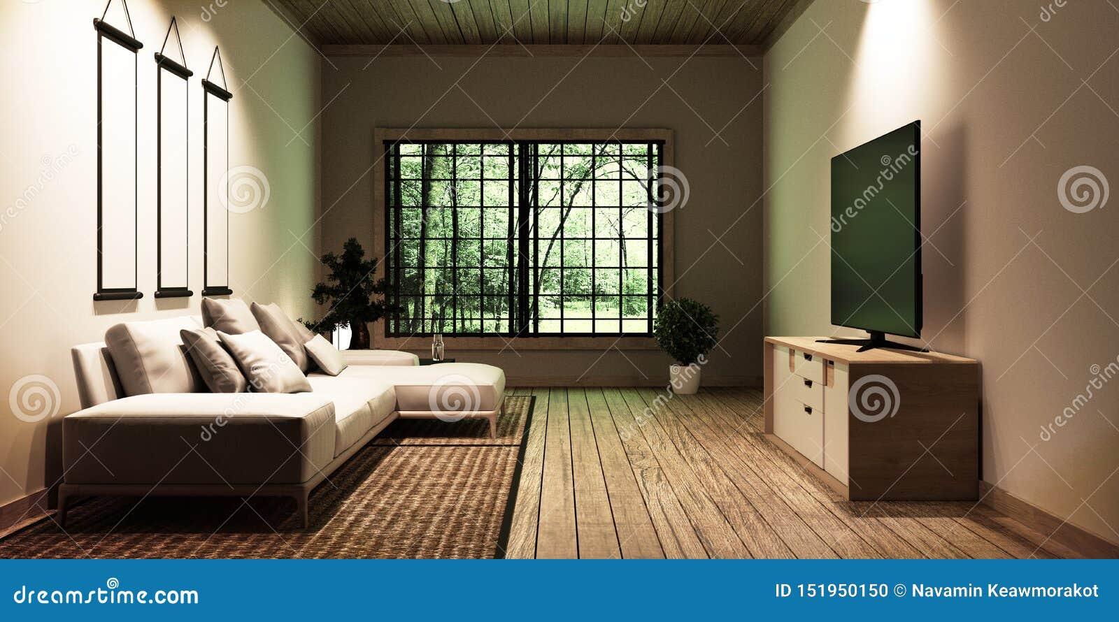 Fernsehen im modernen weißen leeren Rauminnenraum, konzipiert für Liebhaber der japanischen Art rednering 3d