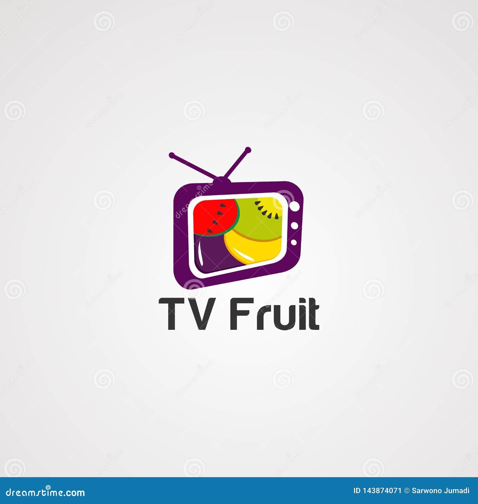 Fernsehfruchtlogovektor, -ikone, -element und -schablone