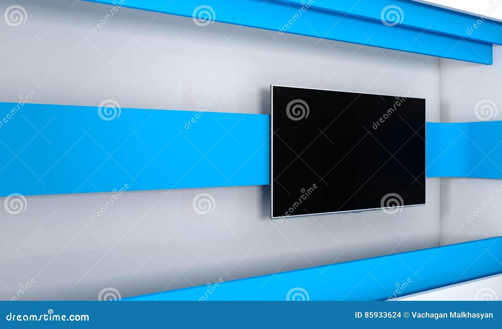 fernsehstudio hintergrund f r fernsehshows fernsehapparat auf wand nachrichten studio der. Black Bedroom Furniture Sets. Home Design Ideas