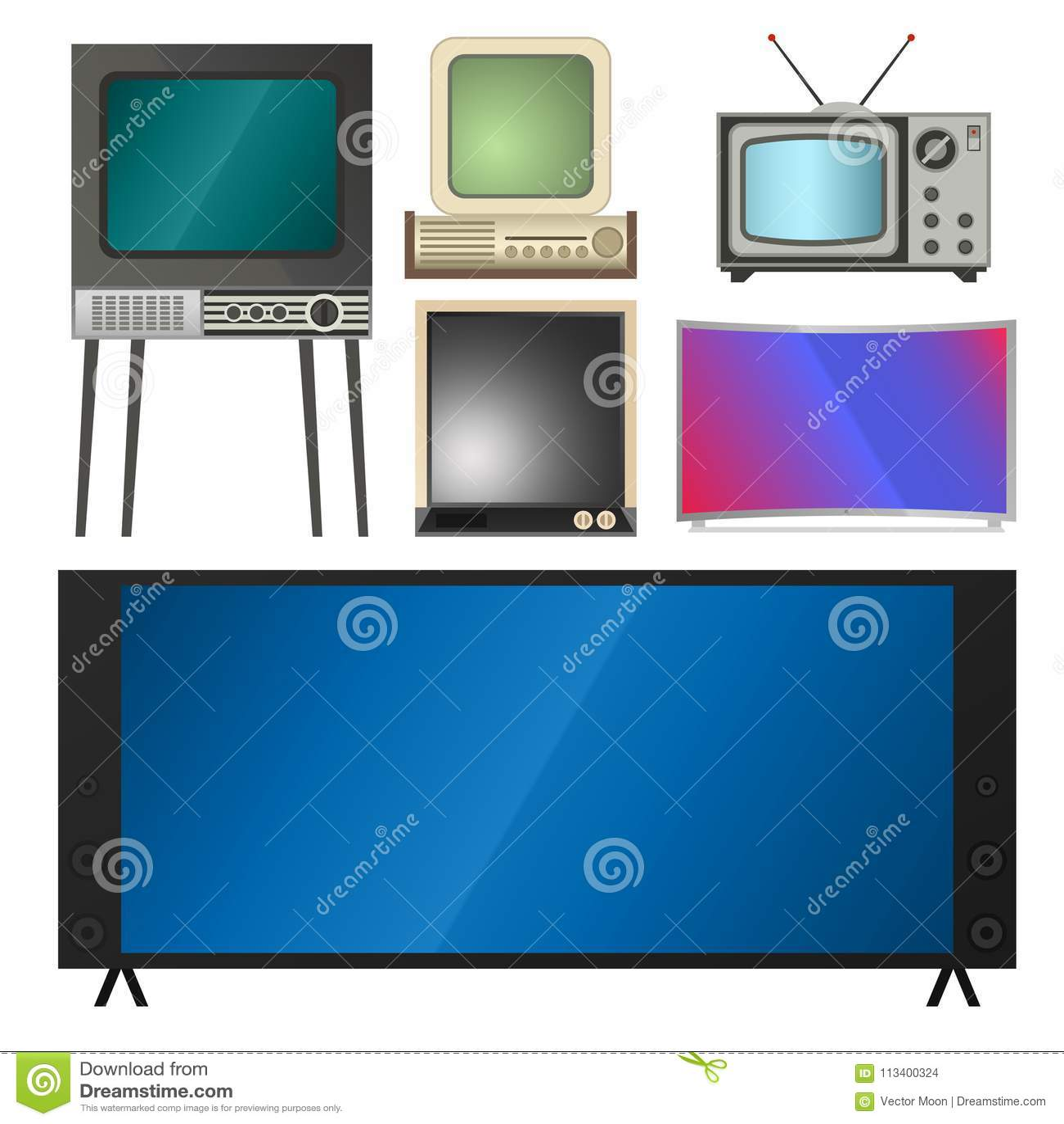 Fernsehvektorschirm lcd-Monitor und Notizbuch, Tablet-Computer, Retro- Schablonen Fernsehen der elektronischen Geräte sortiert in