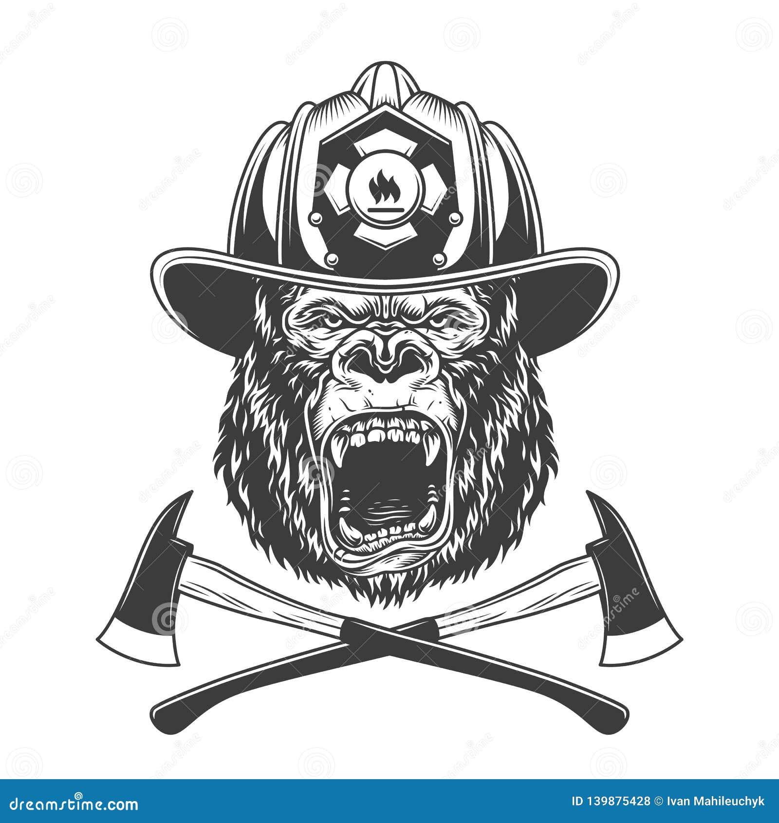 Ferocious gorilla head in firefighter helmet
