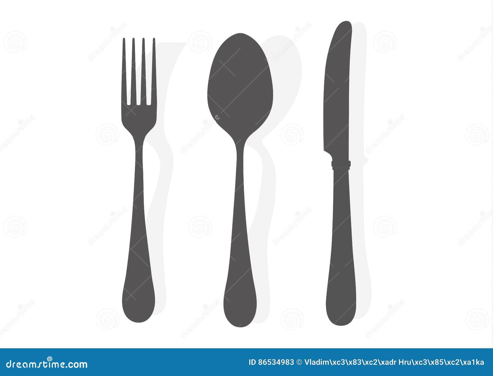 Ferramenta da cozinha Dê a ilustração do vetor do ícone do preto da silhueta da forquilha da faca