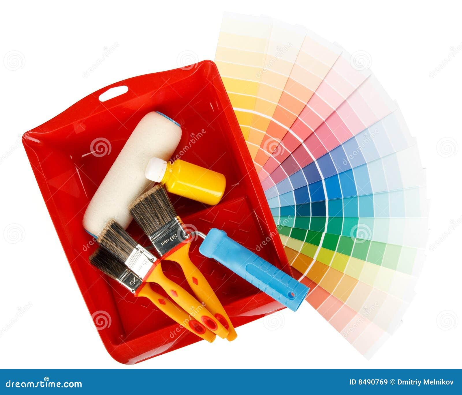 Ferramentas da pintura e guia da cor