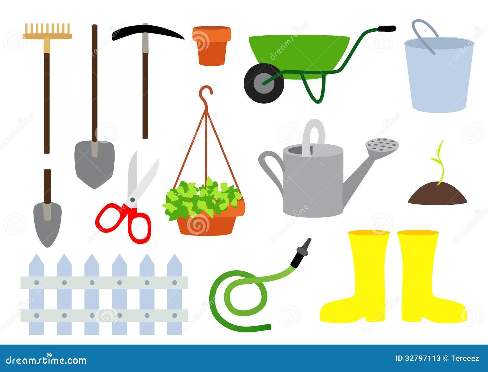 Ferramentas de jardinagem do vetor fotos de stock imagem Materiales para jardineria
