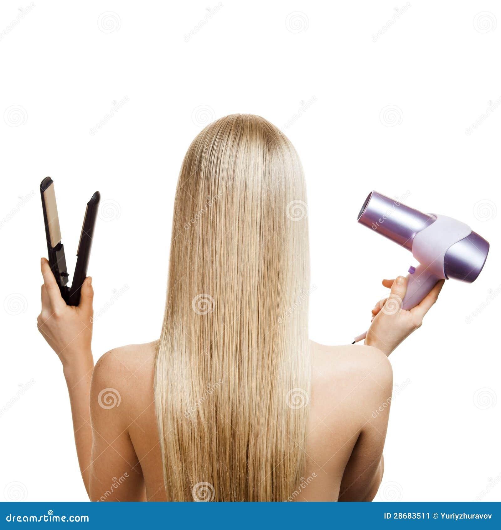 Ferramentas do cabelo louro e do cabeleireiro