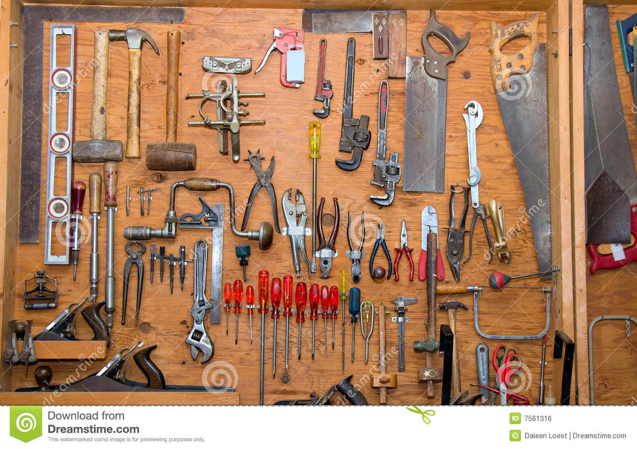 home garage workshop ideas - Ferramentas Na Parede Imagem de Stock Royalty Free