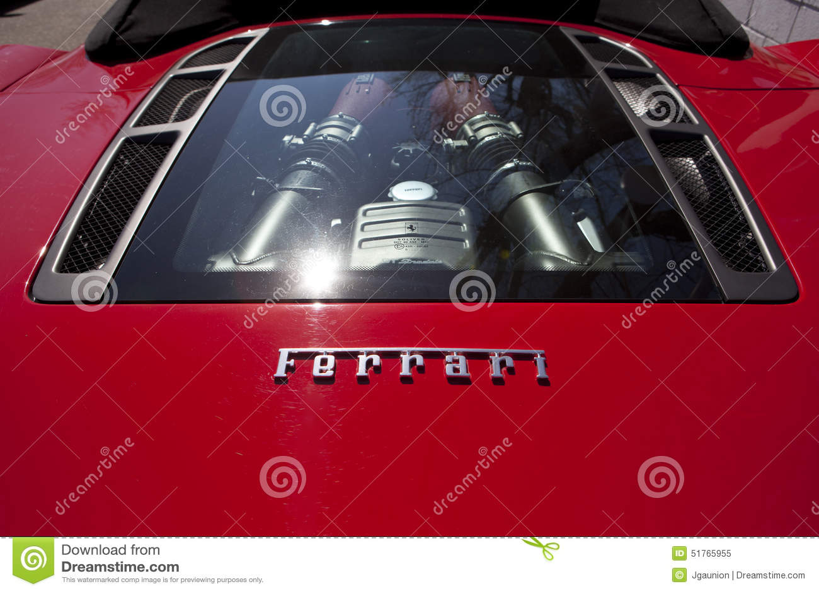 Ferrari back engine window editorial image. Image of race