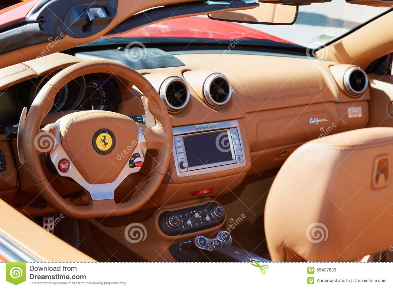 ferrari california leather interior luxury car editorial image image 65437885. Black Bedroom Furniture Sets. Home Design Ideas