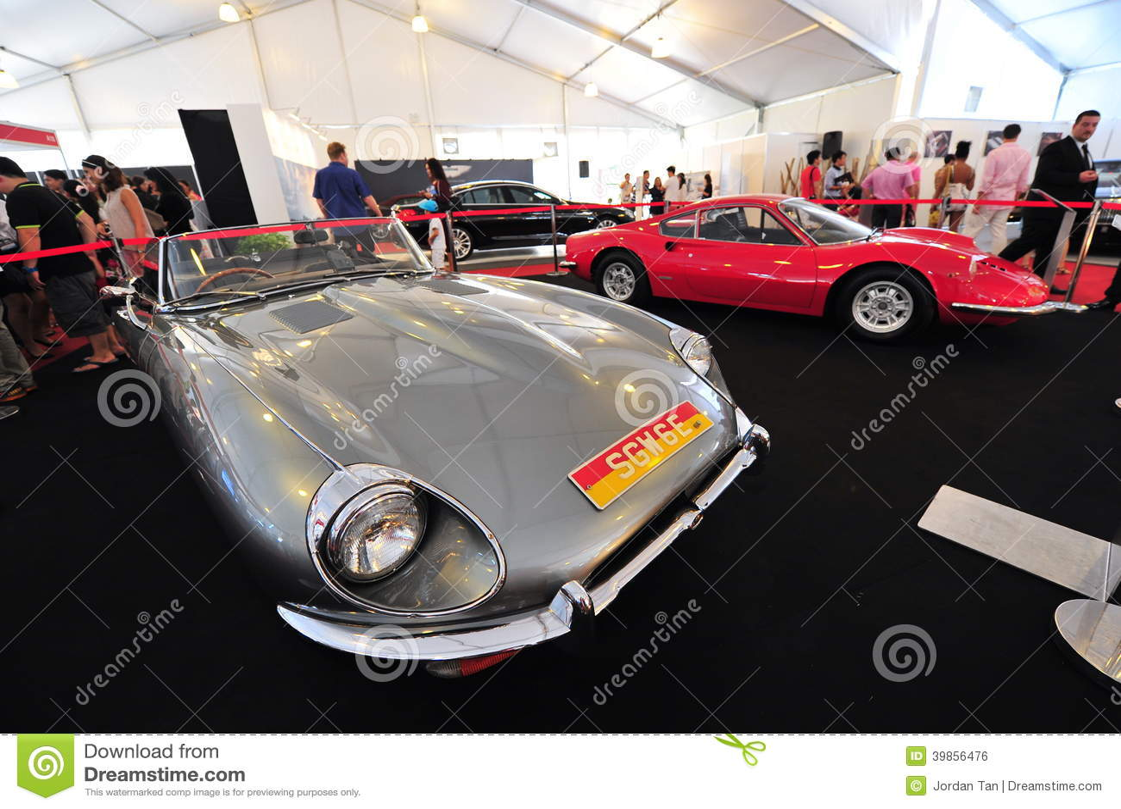 Ferrari Dino Gt And Jaguar E Type Classic Cars On Display