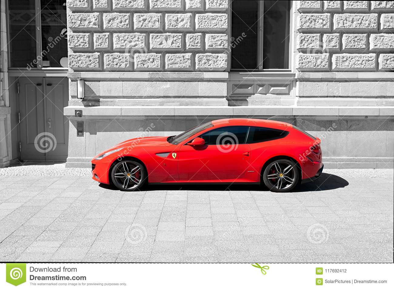 Ferrari F12 Berlinetta In Rosso Corsa Red Color Isolated In Front Of A Building In Black And White Editorial Photography Image Of Contrast Corsa 117692412