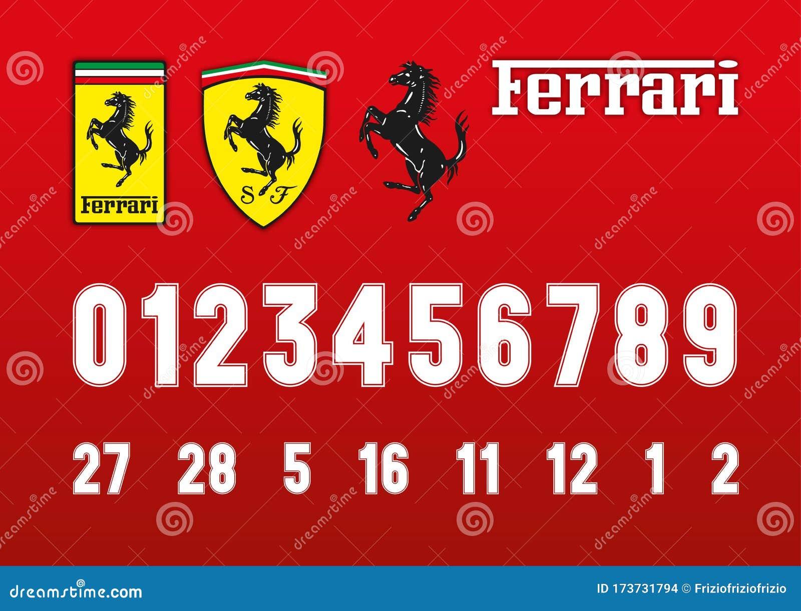 Ferrari Formula 1 Race Font Numbers And Ferrari Logos Editorial Stock Image Illustration Of Cars Industry 173731794