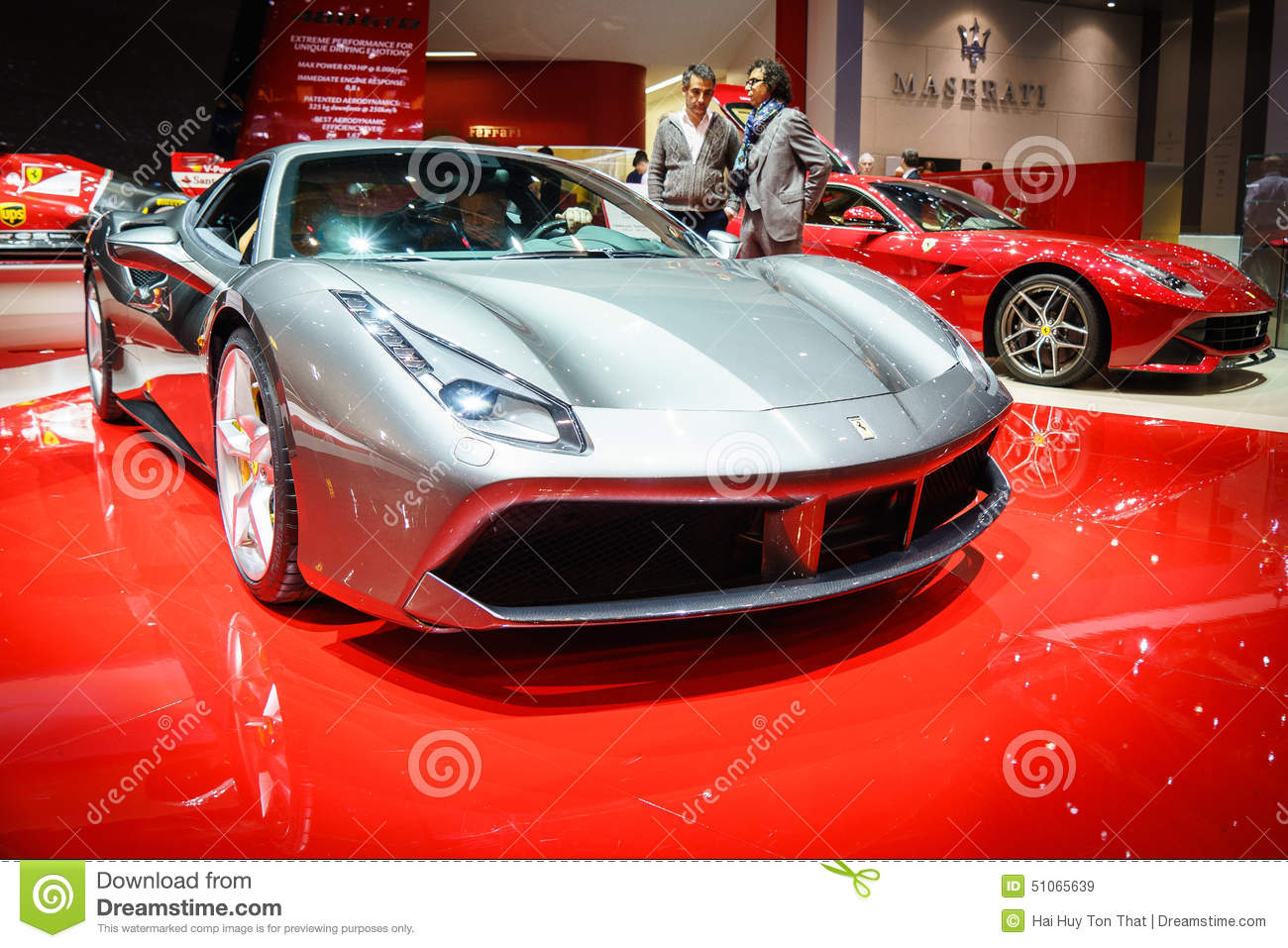 ferrari 488 gtb salon de l 39 automobile geneve 2015 image stock ditorial image 51065639. Black Bedroom Furniture Sets. Home Design Ideas