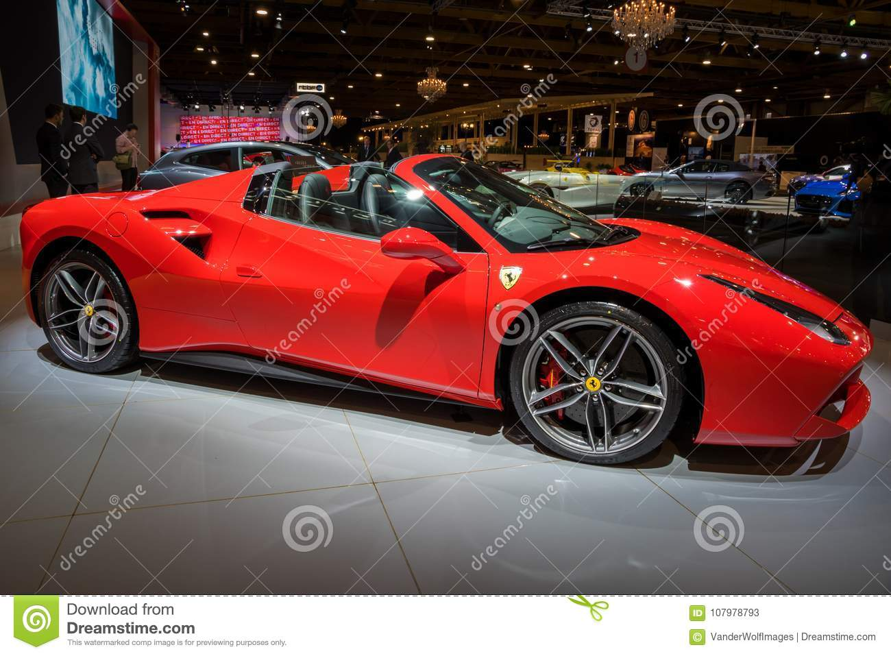 Ferrari 488 Gtb Spider Sports Car Editorial Stock Photo Image Of Fast Autoshow 107978793