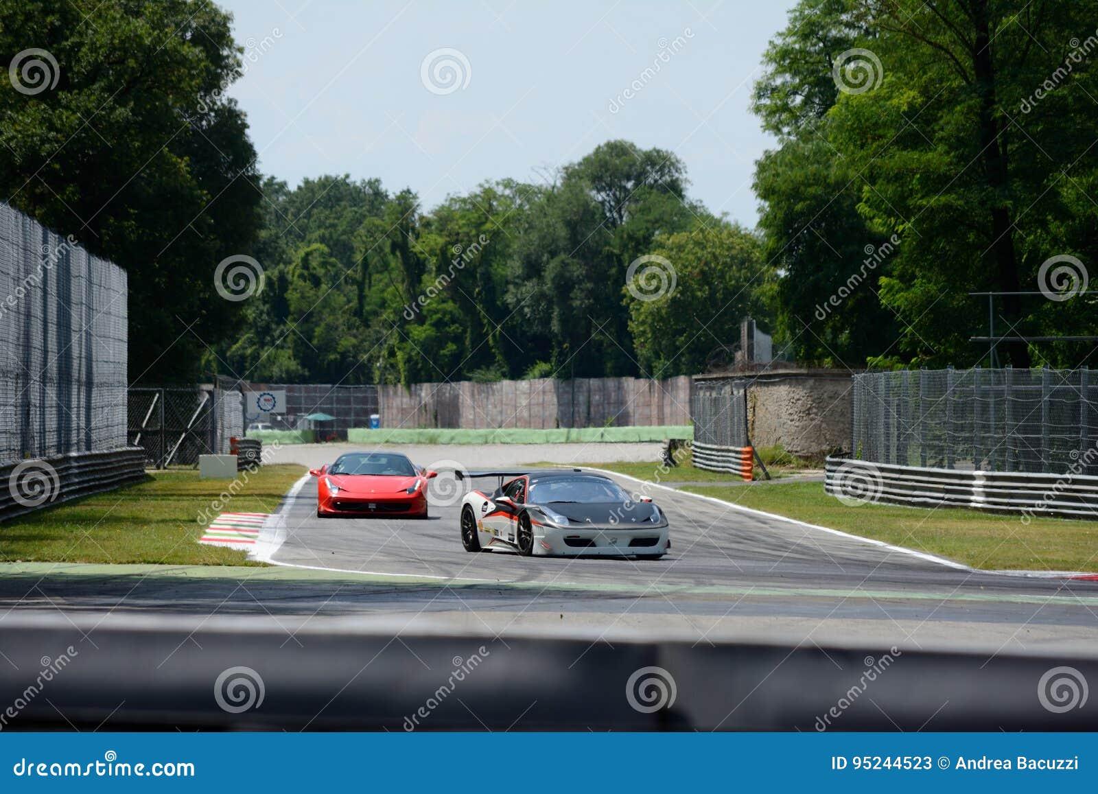 Circuit Monza Italia : Ferrari italia at the roggia chicane of monza editorial stock