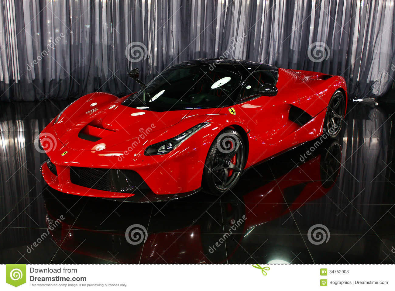 Ferrari Laferrari Hybrid Supercar In Showroom Editorial Stock
