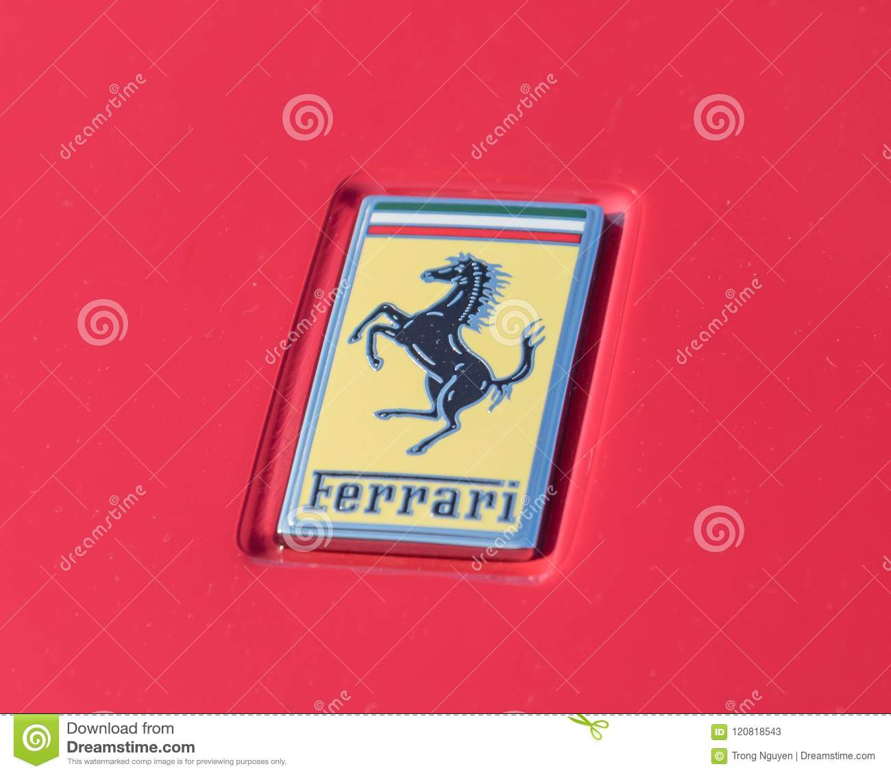 Ferrari Logo On The Luxury Red Supercar Close Up Editorial Stock