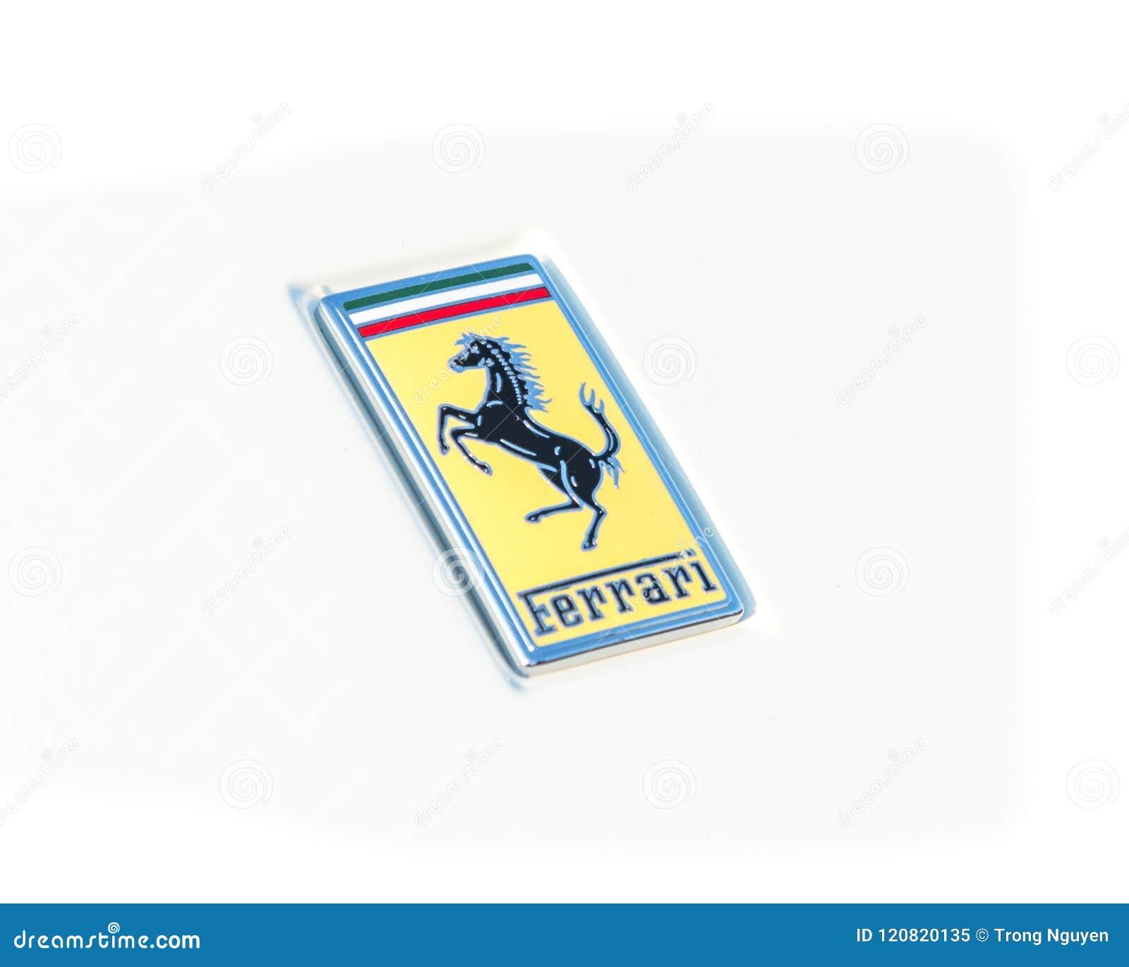 Ferrari Logo On The Luxury White Supercar Close Up Editorial Image