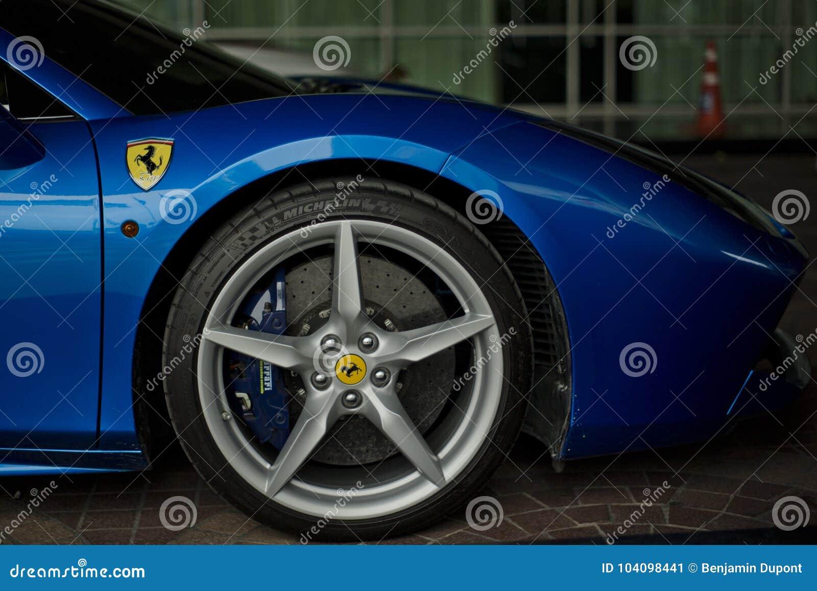 Ferrari 488 Spider Blue Close Up Editorial Photo Image Of Close Parking 104098441