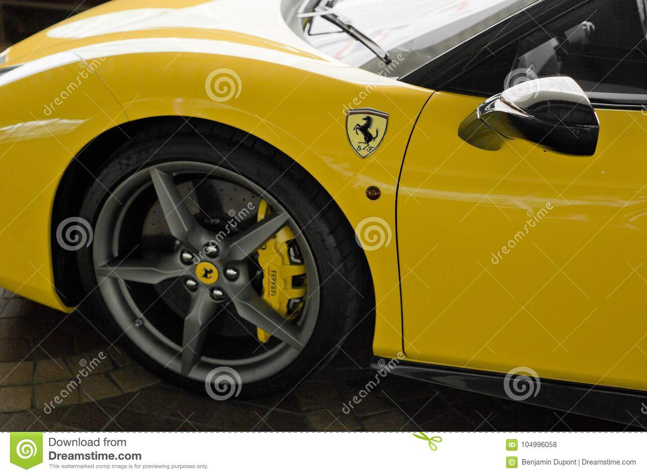 Ferrari 488 Spider Yellow Front Side View Editorial Stock Photo Image Of Bangkok Horsepower 104996058