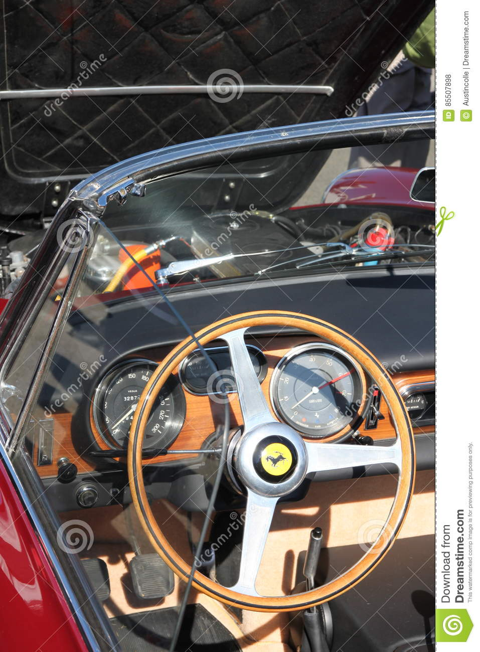 Ferrari Steering Wheel And Dash Board Of Front Engined Classic Car
