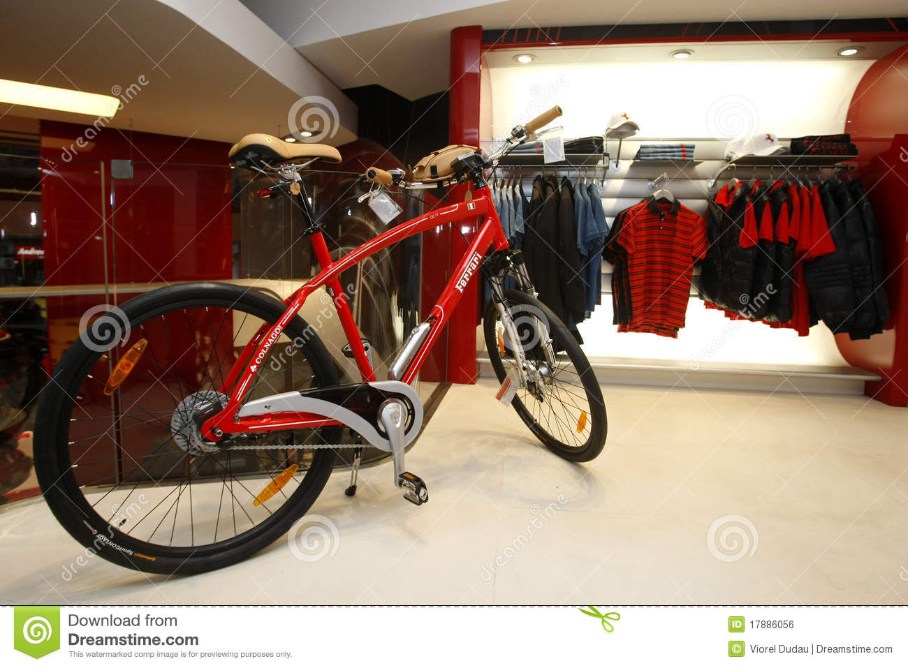 4d4911089 A bicycle and clothes displayed in a new Ferrari Store